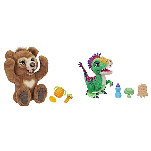 FurReal Friends furReal Cubby, Mein Knuddelbär, interaktives Plüschtier, ab 4 Jahren, braun & E0387EU4 FurReal Mampfosaurus Rex, elektronisches Haustier