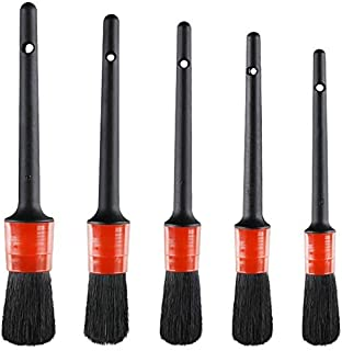 Nrpfell Detail Brush (Set of 5), Auto Detailing Brush Set Perfect for Car Motorcycle Automotive Cleaning Wheels, Dashboard, Interior, Exterior, Leather, Air Vents, Emblems