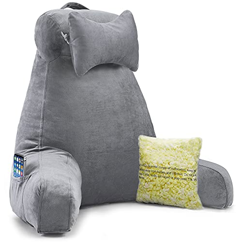 Vekkia Bed Rest Reading & Neck Pillow, Bonus Multifunction Detachable Pillow, Ergonomic Design. Perfect Back Support for Adults Reading/Watching TV/Sitting in Bed - Extra Foams Incl. Large- 23.5'