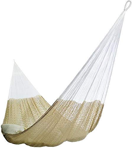 Matrimonial Size Cotton Hammock (Natural Colour) Handmade in Mexico Genuine Mayan Hammock Ideal for 2 people