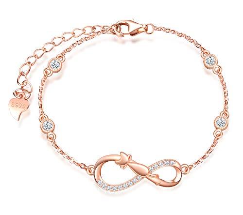 INFINIONLY Bracciale da donna, Parure di gioielli in argento sterling 925, bracciali simbolo dell'infinito e gatto carino, intarsio in zirconio, oro rosa, Regali di compleanno e Natale