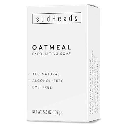 sudHeadz Exfoliating Oatmeal Bar Soap - All Natural & Dye Free - Body or Face Moisturizing Scrub for Sensitive Skin