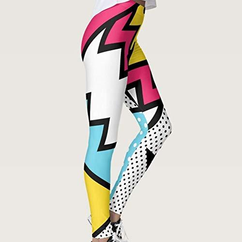 YOUHU Leggins De Dama,Rayas De Colores Puntos Impresión Digital 3D Leggings Delgados Levantadores De Glúteos Scrunch Leggings De Gimnasio De Cintura Alta Control De Abdomen Entrenamiento F