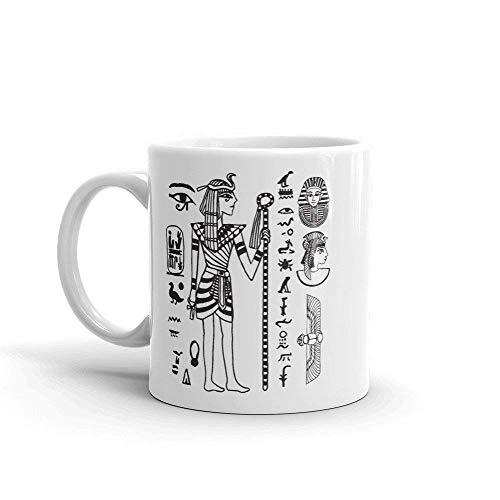 Taza egipcia antigua We Are Strange 11 oz 11 oz cerámica Egipto esculturas arte egipcio taza de café egipcia escritura pirámide regalo