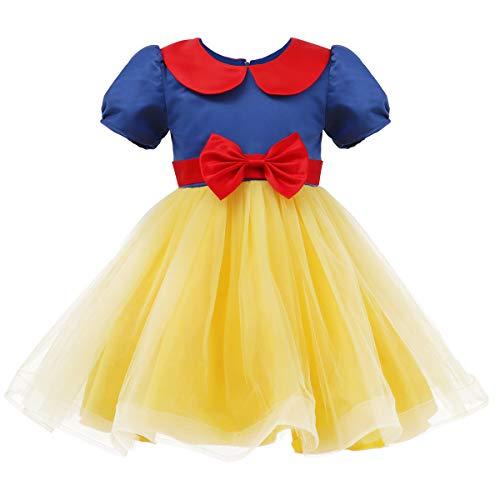 IBTOM CASTLE - Vestido de Encaje de Manga Corta para nia, Ideal para Cosplay, Vestido de Princesa de Tul, Vestido Formal para Fiestas, Boda, Vestido de Flores, 2-9 aos Gelb + Blau 2 5-6 Aos