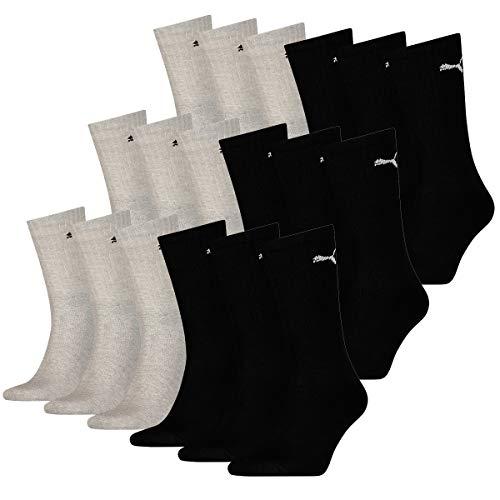PUMA 18 Paar Socken Cush Crew Sportsocken Tennis Socken Unisex, Farbe:666 - black/grey, Socken & Strümpfe:43-46