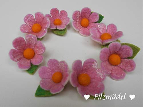 Filzblüten rosa 5er Set