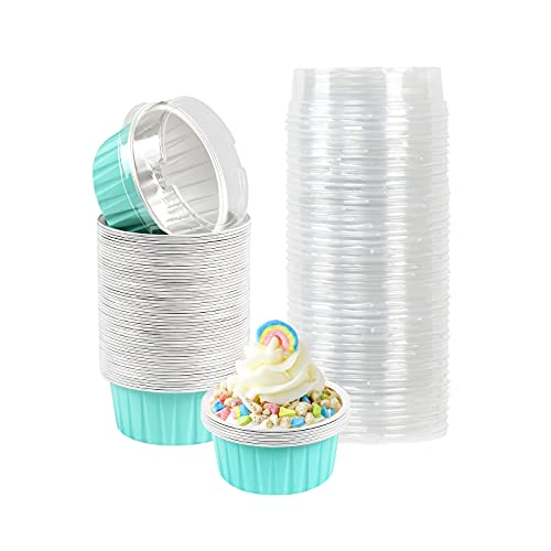 Aluminum Cupcake Cups with Lids, 60Pcs Disposable Foil Ramekins Aluminum 4oz Muffin Liners Cups Cupcake Tins Mini Custard Cups Flan Pie Pans Blue Baking Cups with Lids for Party Holiday Birthday