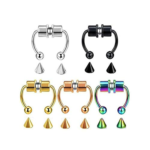 AHPONEX 5 pieces Reusable fashion nose ring alloy,2021 New stainless steel faux septum rings,horseshoe-shaped no perforated nose ring