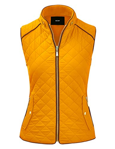 FASHION BOOMY Women's Quilted Padding Vest - Lightweight Zip Up Jacket - Regular and Plus Sizes Small V-Mustard