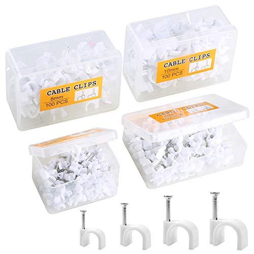 Rotondo Cavo Clip 7 mm Bianco e Nero con chiodi di fissaggio-Confezione da 25 50 100