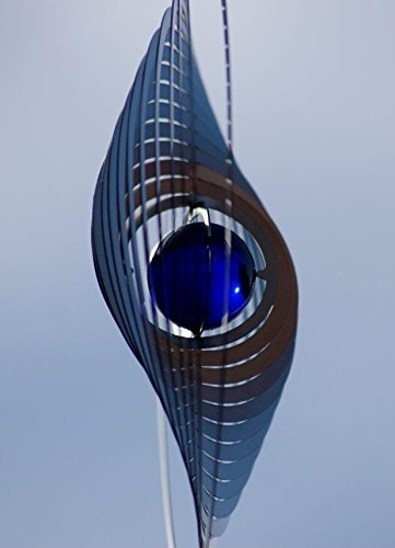 A2003 – steel4you hochwertiges 3D Windspiel aus Edelstahl mit Glasperle – Kreis 15cm x 15cm – made in Germany - 5