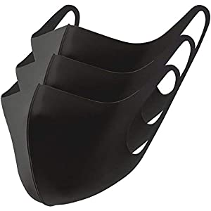 冷感マスク 3枚組 マスク 秋冬 洗えるマスク 布 立体マスク 洗える mask ますく 3枚入り ユニセックス 抗菌 防臭 薄手 (S M L サイズ) (ブラック, Lサイズ3枚組)