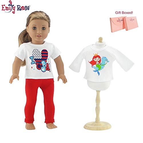 Emily Rose 18 Inch Doll Clothes | 3 Piece Value Pack, Including Graphic USA Doll T-Shirt, Mermaid Tee Shirt and Red Lace Leggings | Fits American Girl Dolls | Gift Boxed!