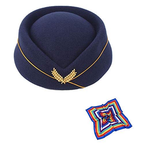 TDAICHAN Flight Attendant Hat for Women - Stewardess Hat, Pillbox Hat for Cosplay Party (Navy Bule with Silk)