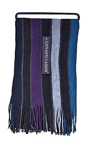 Bufanda de invierno para hombre, de lujo, estilo italiano, con diseño de rayas, talla única