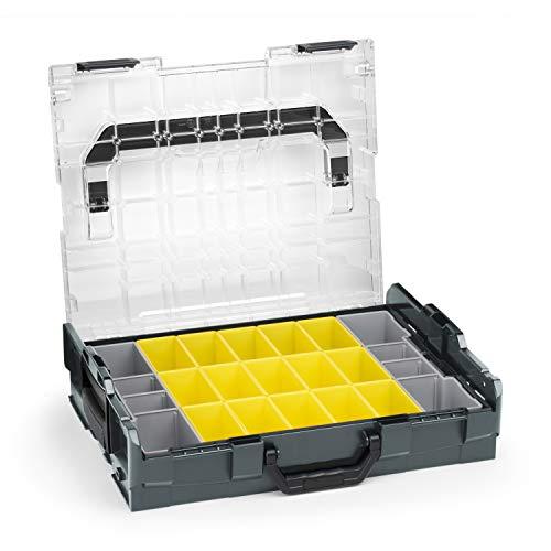 Sortimo Bosch L-BOXX 102 Kunststoff Werkzeugkoffer anthrazit Deckel transparent mit Insetboxen-Set B3 Sortierboxen für Kleinteile | ideale Schraubenaufbewahrung System