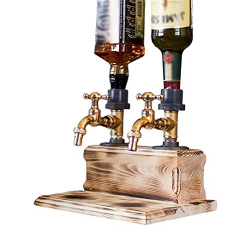 Mnwan Dispensador de Madera de Whisky con Dos grifos, Día del Padre Whisky Bothing Fountain Faucet Forma para cenas, Fiestas, Bar, Celebraciones y Estaciones de Bebidas