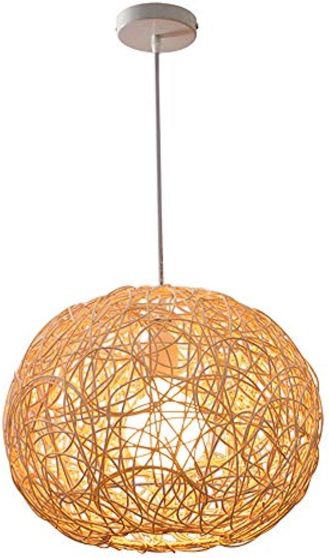ZSSM Rattan gewebte Pendant Lamp Natural True Farbe Rattan Handmade E27 Country Nostalgic Kugel Form Dekoration Ceiling Light (ohne Lichtquellung, die 2 Gren verfügbar ist),25cm
