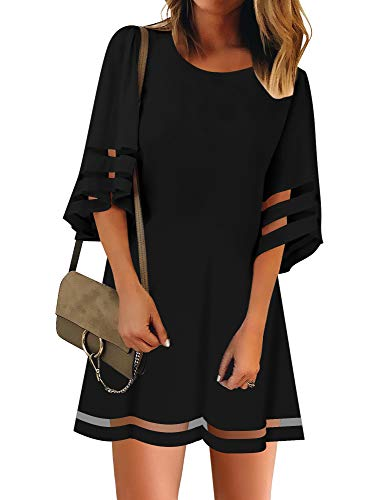 LookbookStore Women Casual Summer Crewneck Mesh Patchwork 3 4 Bell Sleeve Loose A-line Tunic Dress Black Size Medium