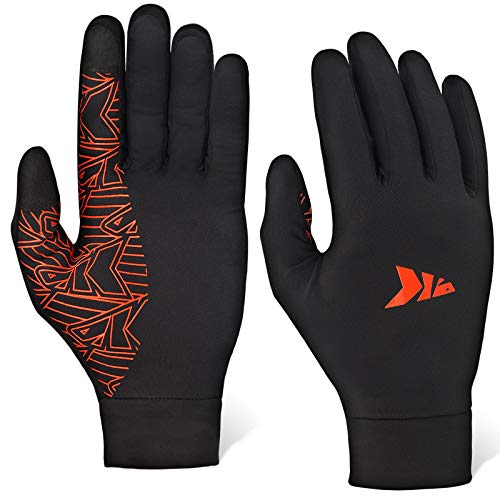 KastKing Running Gloves Mittens Liners for Men and Women Touch Screen Gloves Cycling Winter Thermal Gloves Liners for Running Cycling Driving Hiking(Black,X-Large)
