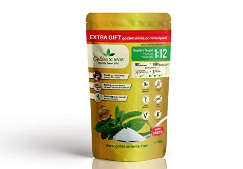 Golden Stevia Suikerpoeder 90 g = 1 kg vervanging voor suiker 1:12, caloriearm, delicate suiker, voor diabetiken, koken en bakken zonder suiker