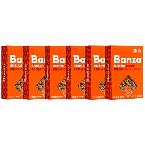 Banza Chickpea Pasta Variety Pack 2 Penne/2 Rotini/2 Shells  Gluten Free Healthy Pasta High Protein Lower Carb and NonGMO  Pack of 6