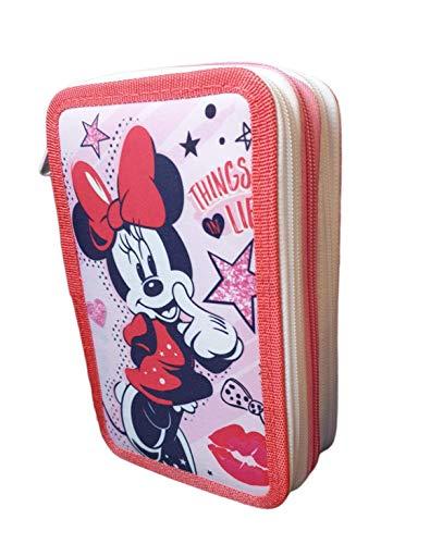 Estuches de Lapìces Disney Minnie Mickey Mous, Estuche Disney Minnie Mickey Mous,Triple con Tres Cremlleras, Estuche Escolar, Gran Capacidad para la Escuela. Tres Compartimentos.