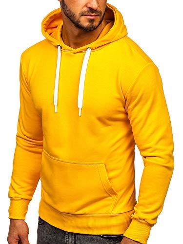 BOLF Herren Kapuzenpullover Sweatjacke Hoodie Sweatshirt mit Kapuze Reißverschluss Farbvarianten Kapuzenpulli Freizeit Training Gym Fitness Unisex 1004 Gelb L [1A1]