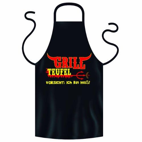 Heiße Grillschürze / Kochschürze mit coolen Longhorn Motiv! Grill Teufel! Originelles Geschenk für Grillfreunde!