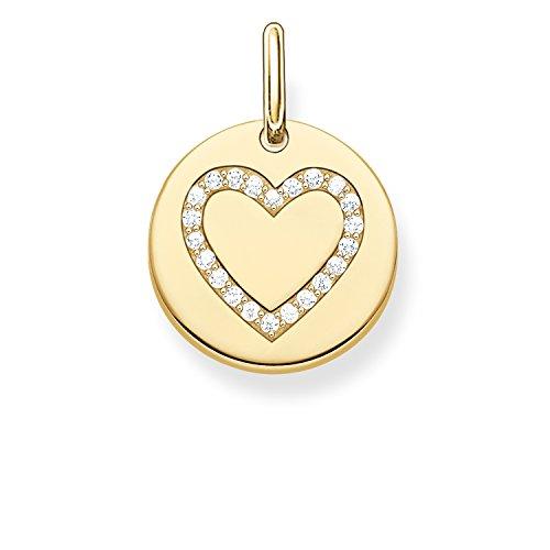 Thomas Sabo Damen-Anhänger Love Bridge Herz 925 Sterling Silber 750 gelbgold vergoldet Zirkonia weiß 1.4 cm LBPE0005-414-14