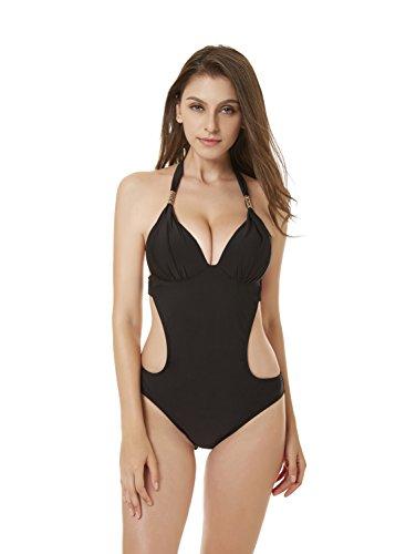 ZOEON Damen Badeanzüge Push Up Rückenfreier Einteiler Bademode mit Cups (M)