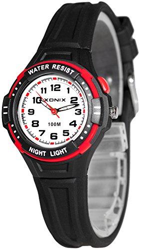 Analoge Armbanduhr XONIX für Kinder WR100m nickelfrei Licht