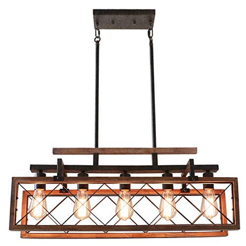Giluta Rectangle Wood Chandelier Kitchen Island Pendant Lighting Rustic Farmhouse Chandelier Hanging Ceiling Light Fixture 5 Lights Ideal for Dining Room Living Room (C0060)