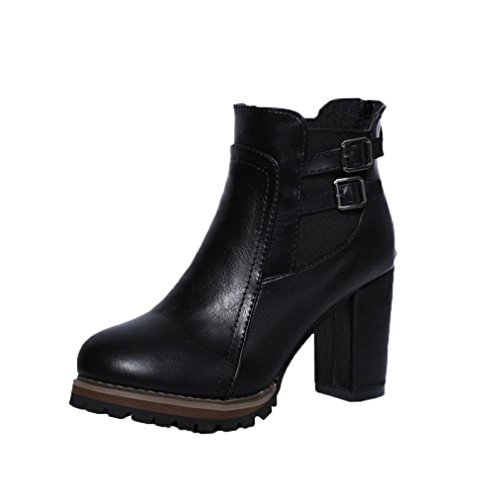 Women's Buckle Straps Stacked Low Heel Ankle Booties Autumn Winter Chunky Block Heel Platform Shoes (US:7, Black)