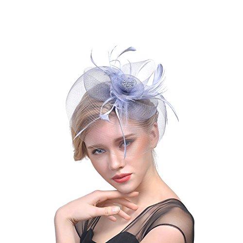 iKulilky Pastillero de malla para mujer, con diseño de plumas, tocado de...