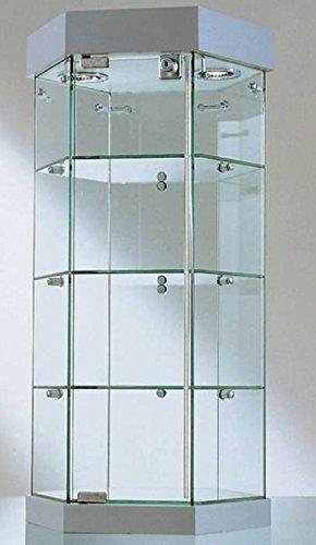 ITALFROM Vitrina de Banco Hexagonal diámetro 36 x Altura 70 cm Cristales templados con 2 focos halógenos - Base de Espejo Made in Italy