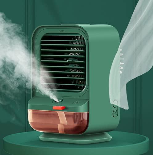 Crtkoiwa Ventilador de aire acondicionado, enfriador de aire pequeño de escritorio, cabezal de agitación portátil, ventilador eléctrico de rociado humectante, humidificador, verde