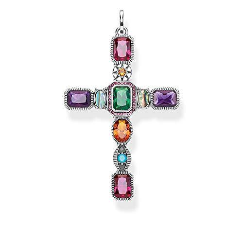 Thomas Sabo Damen-Anhänger Kreuz farbige Steine 925 Sterlingsilber PE859-294-7