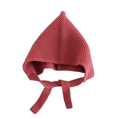 Gorro de Invierno para niños, niñas, niños, Sombreros con Estampado sólido paraniños, Gorros de PuntoBonitos paraniños, Moda de Punto, 8 Colores, 3-8 años-Watermelon Red
