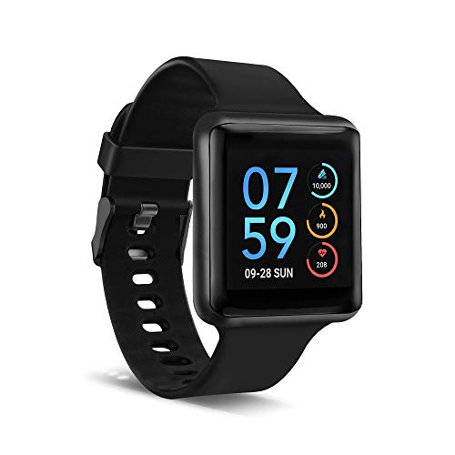iTouch Air Special Edition Smartwatch, Heart Rate Monitor, Pedometer, Walking and Running Tracker for Women and Men, Android & iOS Compatible - 44mm Solid Strap (Black/Black)