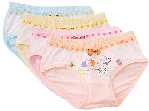 FAIRYRAIN FAIRYRAIN 4 Packung Baby Kleinkind Mädchen Cartoon Kaninchen Pantys Hipster Shorts Spitze Baumwollunterhosen Unterwäsche 6-8 Jahre
