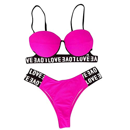 DIOMOR 2 PC Sexy Fashion Leopard Letter Print Brazilian Halter Bikini Set for Women Teens Push Up Bra Bathing Swimsuit Hot Pink