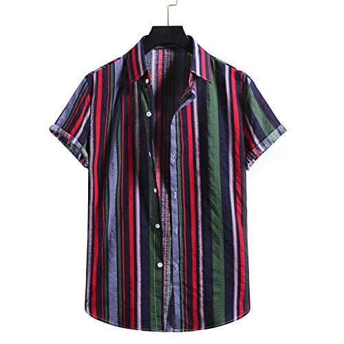 BIBOKAOKE Herren Kurzarm T-Shirt Gestreiftes Bedruckte Stehkragen Henley Shirts dünne atmungsaktive Baumwolle Kurzarmhemd StrandShirt Urlaub Freizeithemd Sommer Mode Coole Männer Essentials
