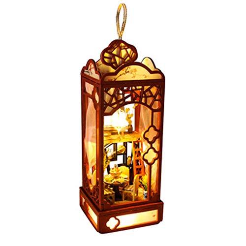 Dingcaiyi 3D Holz DIY Mini Garten Dachgeschoss Laterne Mit Möbeln LED Haus, Blume Guten Mond Runde Handmontierte Tage Zu Korb Hut Geburtstagsgeschenk Gehen