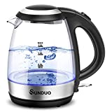SUNDUO Electric Kettle 1.2L, 1500W Fast Heating LED Light Glass Electric Tea Kettle, Cordless BPA Free Hot Water Boiler, Auto Shutoff & Boil-Dry Protection,Stainless Steel Filter, Countertop Teapot