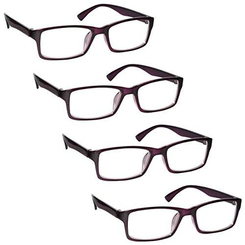 The Reading Glasses Company Gafas De Lectura Púrpura Lectores Valor Pack 4 Estilo Diseñador Hombres Mujeres Rrrr92-5 +1,00 4 Unidades 88 g