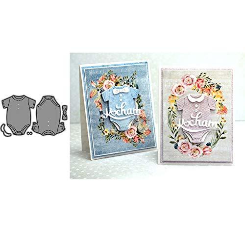 Lai-LYQ Metall-Stanzschablonen für Scrapbooking, Papierkarten, Album, Handwerk, silberfarben, Motiv: Baby-Kleidung/Strampler