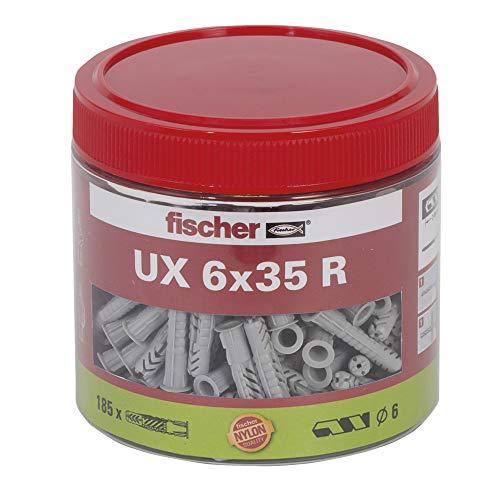 fischer Universaldübel UX 6 x 35, handliche Runddose mit 185 Nylondübeln, Allzweckdübel mit Rand für optimalen Halt bei Befestigungen in Beton, Gipskarton, Kalksand-Lochstein uvm.