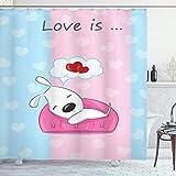 ABAKUHAUS H& Duschvorhang, Welpen auf Sofa Herzform, mit 12 Ringe Set Wasserdicht Stielvoll Modern Farbfest & Schimmel Resistent, 175x240 cm, Weiß Rosa Blau